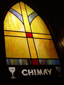 Stained Glass Chimay Window at Red Monk