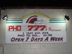 The sign on the side of Pho 777