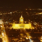 A night view of the Des Moines Capitol building from the Embassy Club on top of 801 Grand